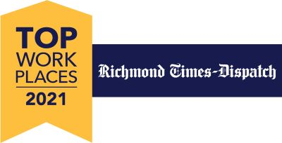 Logo for the Top Workplace Award from the Richmond Tmes Dispatch